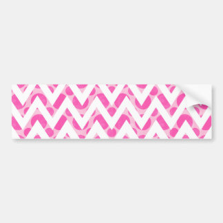 Pink watercolor  polka dots chevron pattern bumper sticker