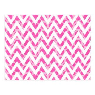 Pink watercolor  polka dots chevron pattern postcard