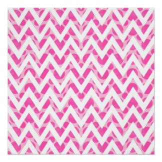 Pink watercolor  polka dots chevron pattern poster