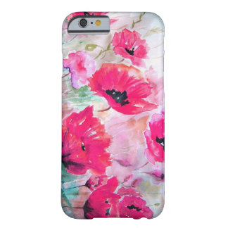 Pink watercolor Poppies. Barely There iPhone 6 Case
