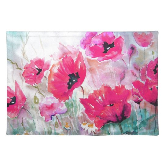 Pink watercolor Poppies. Cloth Placemat