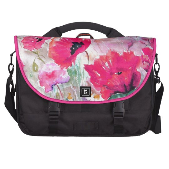 Pink watercolor Poppies. Laptop Commuter Bag