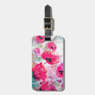 Pink watercolor Poppies. Luggage Tag