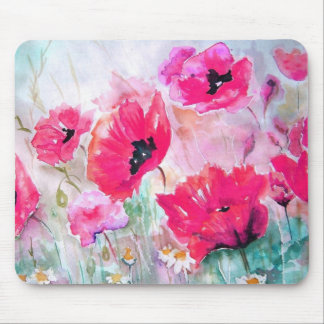 Pink watercolor Poppies. Mouse Pad