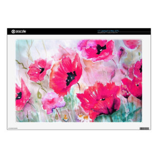 """Pink watercolor Poppies. Skin For 17"""" Laptop"""