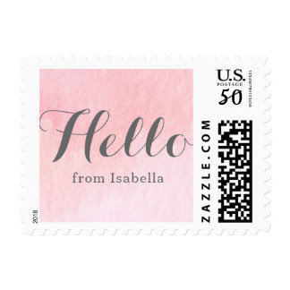 Pink Watercolor Postage