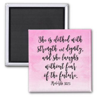 Pink Watercolor Proverbs 31 Christian Womens Bible 2 Inch Square Magnet