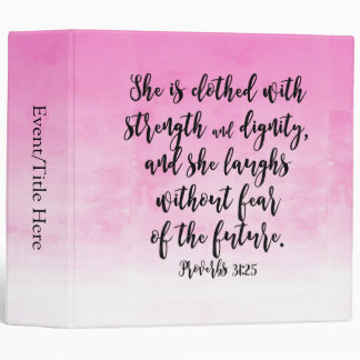 Pink Watercolor Proverbs 31 Christian Womens Bible Binder