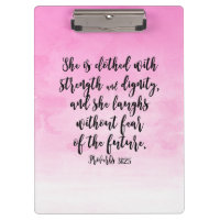 Pink Watercolor Proverbs 31 Christian Womens Bible Clipboard