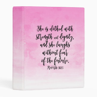 Pink Watercolor Proverbs 31 Christian Womens Bible Mini Binder