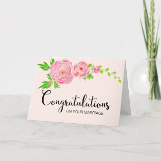 Pink Watercolor Ranunculus Congratulation Card