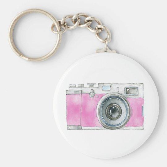 Pink Watercolor Retro Camera Photographer Logo Keychain