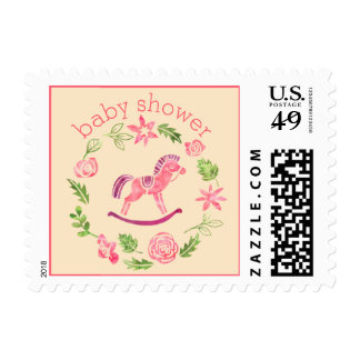 Pink Watercolor Rocking Horse Baby Shower Stamp