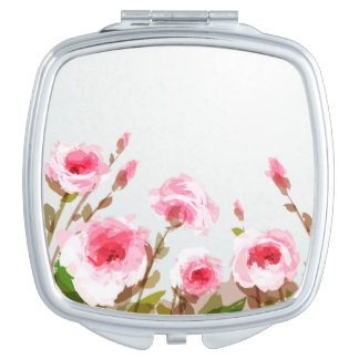pink watercolor rose floral boho bloom makeup mirror