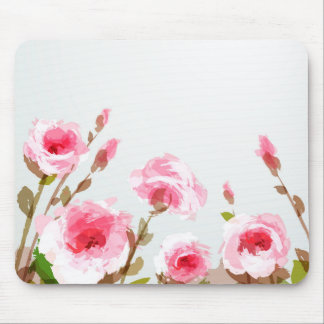pink watercolor rose floral boho bloom mouse pad
