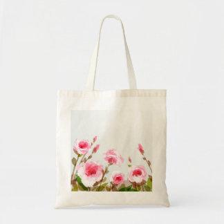 pink watercolor rose floral boho bloom tote bag