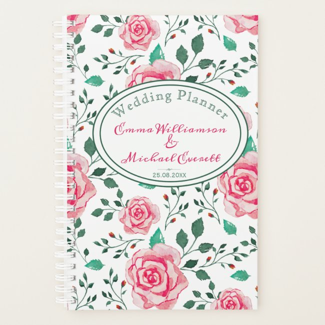 Pink Watercolor Rose | Personalized Wedding