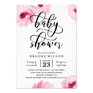Girly Baby Shower Invitations Announcements Zazzle
