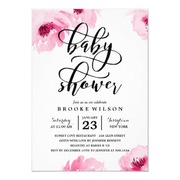 Toddler & Baby themed Pink Watercolor Roses Baby Shower Invitation