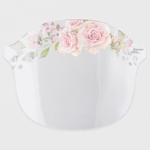 Pink Watercolor Roses  Crown of Flowers Face Shield