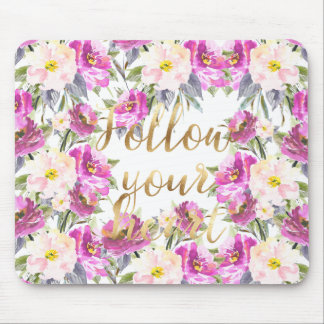 Pink Watercolor Roses Follow Your Heart Mouse Pad