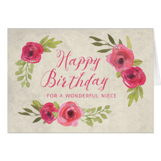 Pink Watercolor Roses Niece Birthday Card