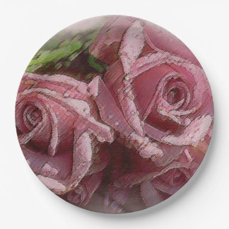 Pink Watercolor Roses Paper Plate