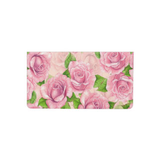 Pink watercolor roses pattern checkbook cover