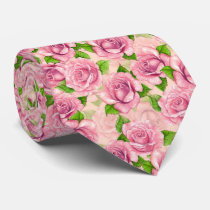 Pink watercolor roses pattern neck tie