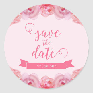 Pink Watercolor Roses Save the Date Classic Round Sticker
