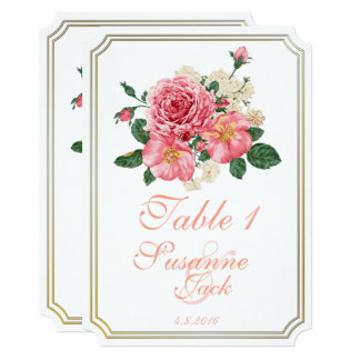 Pink Watercolor Roses Table Card