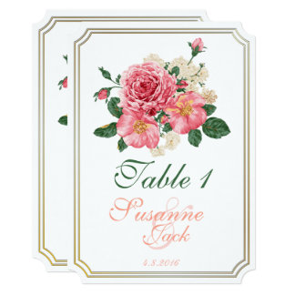 Pink Watercolor Roses Table Card 2
