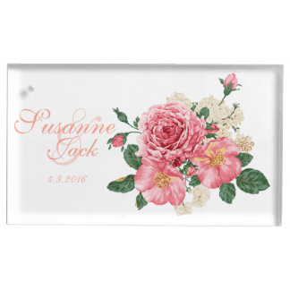 Pink Watercolor Roses Table Card Holder