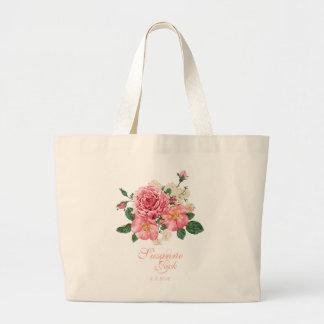 Pink Watercolor Roses Wedding Large Tote Bag