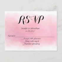 Pink watercolor RSVP postcards