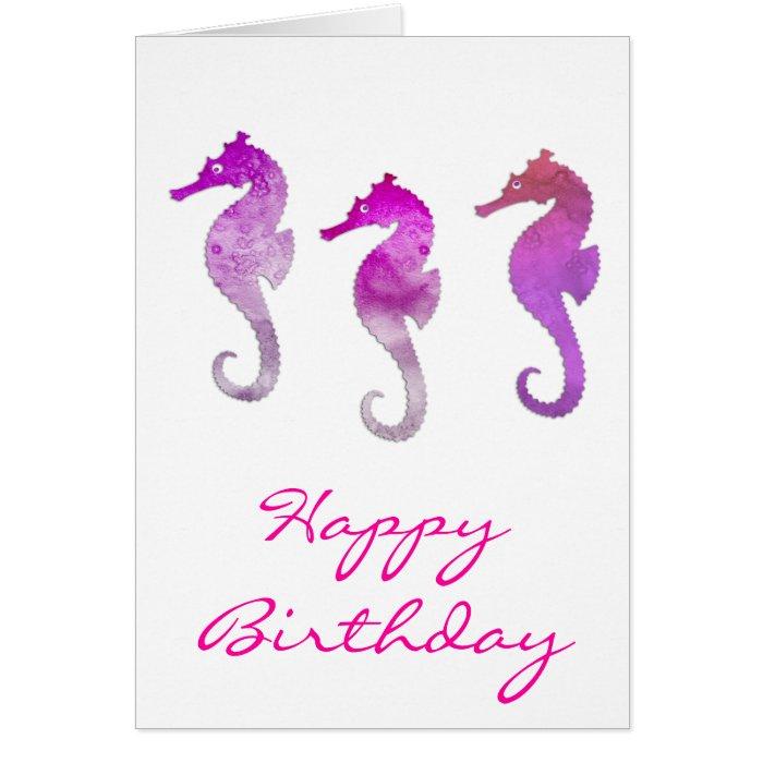 Pink Watercolor Seahorses Card