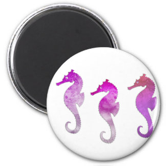 Pink Watercolor Seahorses Magnet
