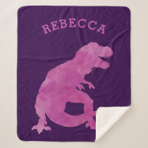 Pink Watercolor Silhouette Dinosaur Kids Purple Sherpa Blanket