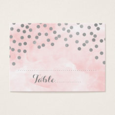 Pink Watercolor Silver Confetti Place Setting Card at Zazzle