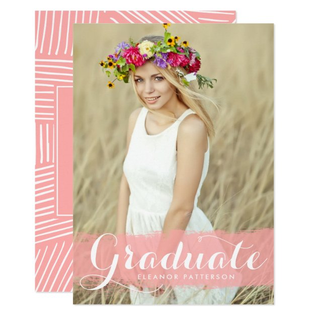 Pink Watercolor Splash Overlay Photo Graduation Card