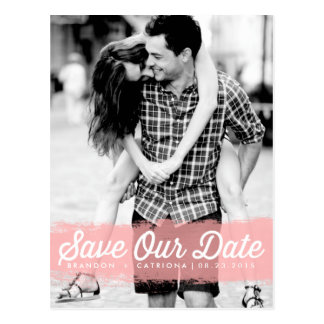Pink Watercolor Splash Save Our Date Postcard