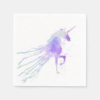 Pink watercolor splatters magical beauty unicorn napkin