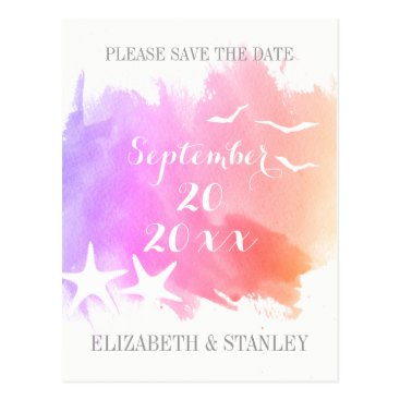 Beach Themed Pink watercolor, starfish wedding Save the Date Postcard