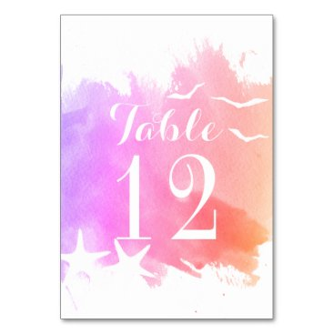 Beach Themed Pink watercolor, starfish wedding table number