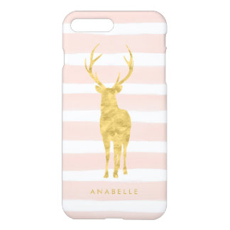 Pink Watercolor Stripes and Gold Deer iPhone 8 Plus/7 Plus Case