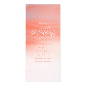 Beach Themed Pink Watercolor Swash Modern Wedding Programs