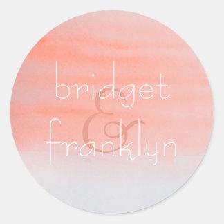 Pink Watercolor Swash Wedding Classic Round Sticker