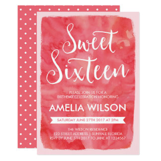 Pink Watercolor Sweet 16 Birthday Invitation