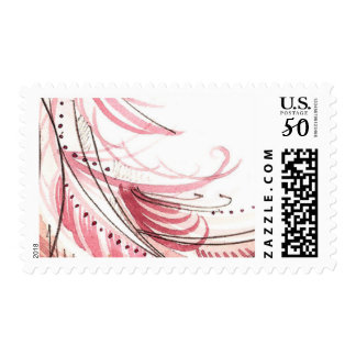 Pink Watercolor Swirl Postage