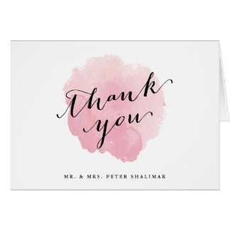 Pink watercolor thank you note card spotlight